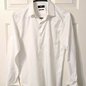 White Hugo Boss Slim Fit Long Sleeve French Cuff